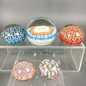 Two Murano Glass Paperweights and Three Unmarked Millefiori Paperweights.     Estimate $100-200