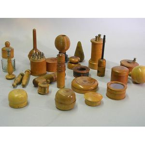 Group of Treen Tools and Technical Items