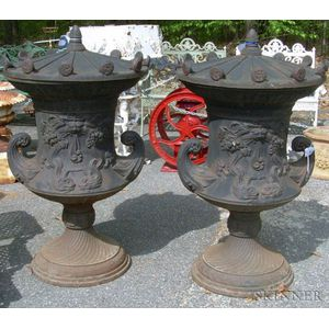 Pair of Renaissance-style Black-painted Cast Iron Covered Urns