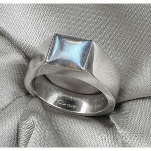 """18kt White Gold and Labradorite """"Tank"""" Ring, Cartier"""