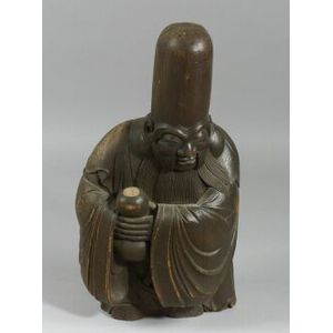 Carved Wooden Temple Figure