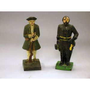 Two Painted Cast Iron Figures of Presidents George Washington and U.S. Grant.