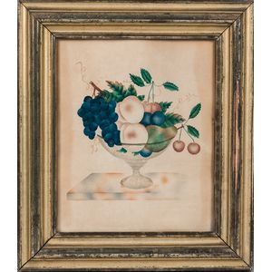Watercolor and Mica Still Life Theorem of Fruit in a Compote