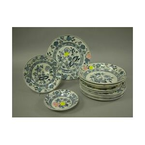 Twelve Staffordshire Blue Onion Pattern Pattern Plates and Small Low Bowls.