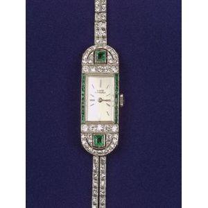 Art Deco Emerald and Diamond Wristwatch, Girard Perregaux