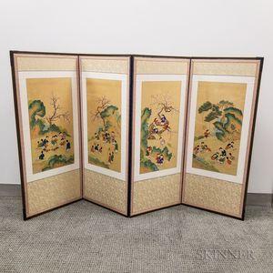 "Four-panel ""One Hundred Boys"" Folding Screen"