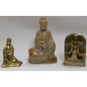 Chinese Bronze Guan Yin, Carved Soapstone Guan Yin, and a Stele