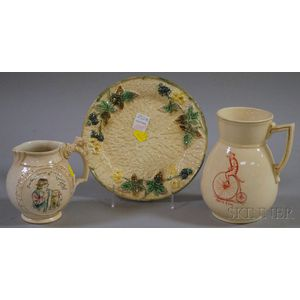 Clifton Majolica Plate, Baltimore Transfer-decorated Uncle Tom Cat Jug, and Transfer Taming of the Shrew Jug.