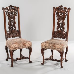 Set of Twelve Walnut Side Chairs in the Style of Daniel Marot Set of Twelve...