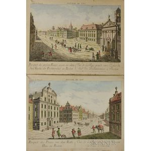 Two Francois Xavier Haberman Hand-colored Engravings of Boston