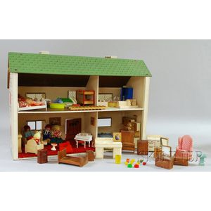 Lithographed Wood and Composition Dollhouse