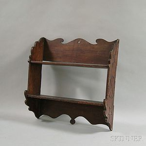 Folk-carved Walnut Two-tier Hanging Wall Shelf