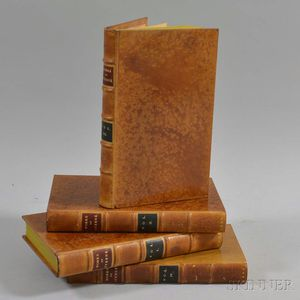 Four Leather-bound Volumes of The Works of Laurence Sterne
