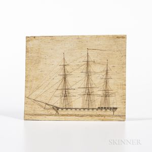 Scrimshaw Panbone Plaque Depicting a Three-masted Sailing Ship