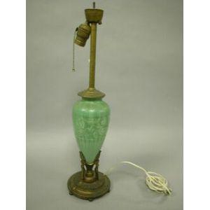 Gilt-metal Mounted Green Glazed Art Pottery Table Lamp Base.