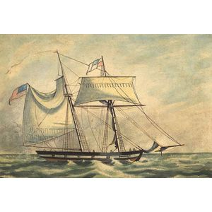 American School, Late 19th/Early 20th Century  Portrait of a Two-Masted Sailing Vessel.