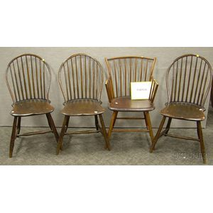 Set of Five Windsor Bow-back Side Chairs and a Windsor Rod-back Armchair.