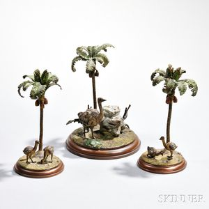Three-piece Cold-painted Bronze Desk Set, probably Austria, late 19th/early 20th century, unmarked, comprised of a hinged rock-form ink