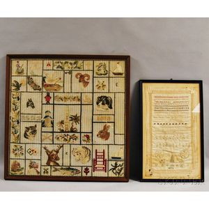 Needlework Sampler and a Needlepoint Picture