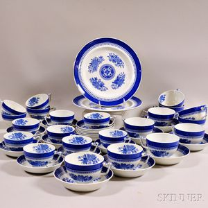 """Forty-two Pieces of Copeland Spode Blue """"Fitzhugh"""" Ironstone Teaware.     Estimate $100-200"""