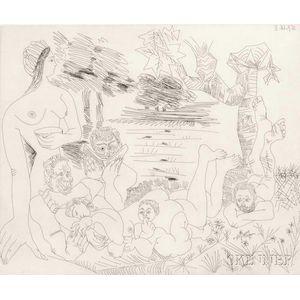 Pablo Picasso (Spanish, 1881-1973)      Scène Pastorale Poussinesque sur le Thème de Pan et Syrinx