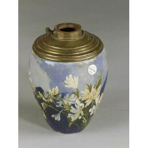 Limoges-style Barbotine Floral Decorated Pottery Oil Lamp Base