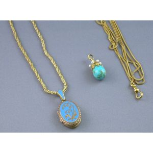 Trifari Enamel Decorated Locket and Chain, a Carter, Gough and Co. 14kt Gold Chain, and a Gold, Pearl, and Turq...