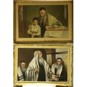 Two Framed Oil on Canvas Scenes with Rabbis