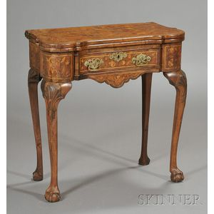 Dutch Marquetry Inlaid and Carved Walnut Game Table