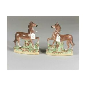 Pair of English Earthenware Horse Figures