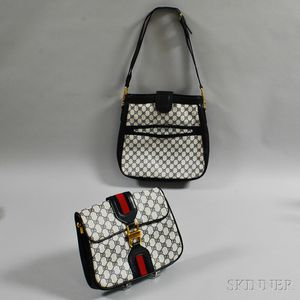 Two Gucci White and Navy Waxed Canvas and Leather Bags