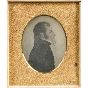 Sixth-plate Daguerreotype of a Rufus Porter Folk Portrait of a Young Man
