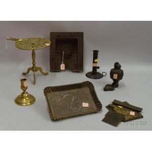 Seven Assorted Metal Table, Lighting, and Decorative Items
