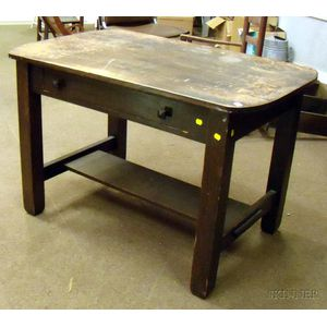 Paine Furniture Arts & Crafts Oak Library Table with Drawer
