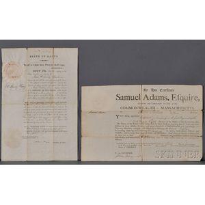 Adams, Samuel (1722-1803) Printed Document Signed, 1 January 1796.