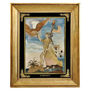 """Needlework Picture After Edward Savage """"Liberty in the Form of the Goddess of Youth,"""""""
