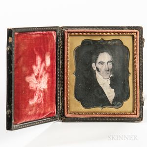Sixth-plate Daguerreotype of a Folk Portrait of a Young Man with Sideburns