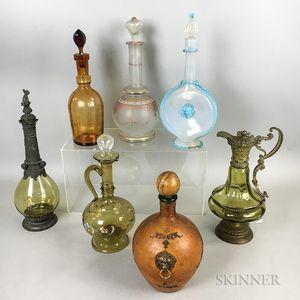 Seven Glass Decanters