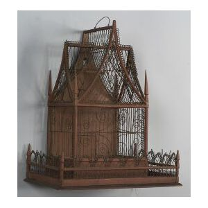 Painted Wood and Wirework Birdcage
