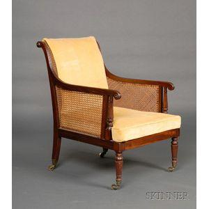 Regency Ebony String-inlaid Mahogany and Caned Library Chair