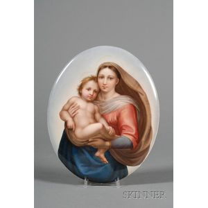 KPM Painted Porcelain Plaque of the Madonna and Child