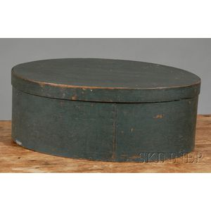 Large Blue-painted Lapped Seam Oval Box