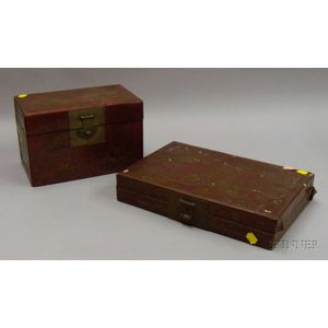 Two Chinese Red Lacquer Boxes