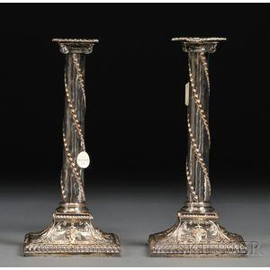 Pair of Adam-style Sheffield Plate Candlesticks