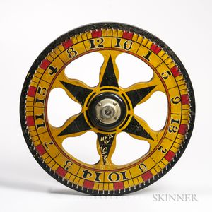 Small Yellow-, Red-, and Black-painted Wheel of Chance