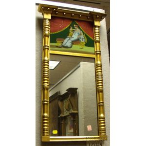 Federal Giltwood Tabernacle Mirror with Reverse-painted Glass Tablet Depicting   a Mother and Child on a Recamier