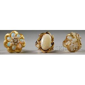 Three Gold and Opal Rings