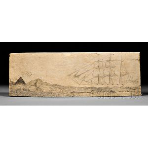 Scrimshaw Engraved Whale Panbone