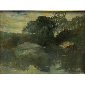 American School, 20th Century      Landscape with Pond, New York, Thought to be Central Park