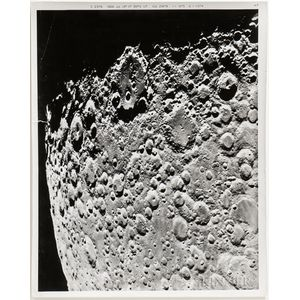 Lunar Orbiter or Observatory, July and December 1966, Two Large-format Photographs of the Surface of the Moon.